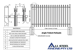 All Steel Fencing Manufactures Angle Trident Palisade