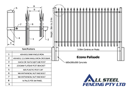 All Steel Fencing Manufactures Econo Palisade Fencing